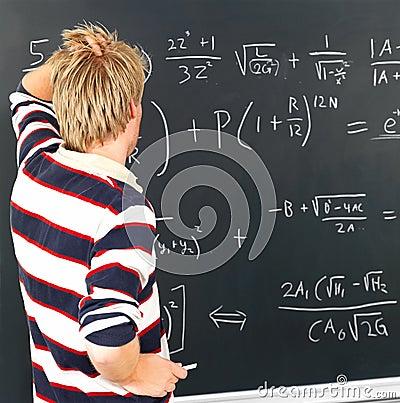 Modern education - Student looking at blackboard