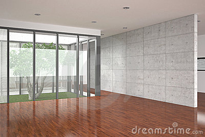 Modern empty interior with parquet floor