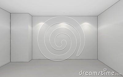 Modern Empty Room, 3d render interior design, mock up illustrati Cartoon Illustration