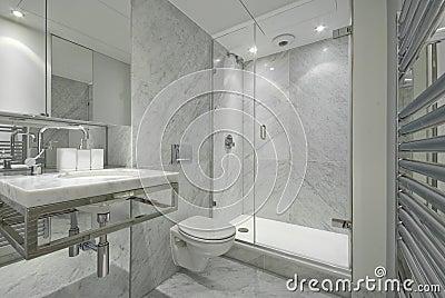 Modern En Suite Marble Bathroom In White Royalty Free