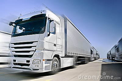 Modern European Truck with semitrailers convoy on