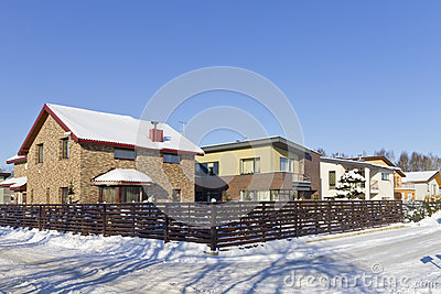 Modern European winter village Editorial Photography