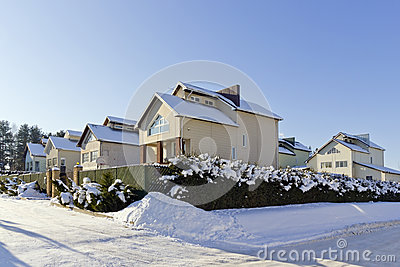 Modern European winter village Editorial Stock Image