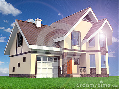 Modern family suburban home on grass and sky background.