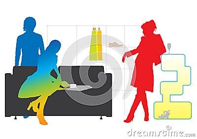Modern fashion lifestyle silhouettes