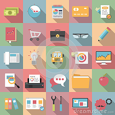 Free Modern Flat Business Icons With Long Shadow Style Stock Image - 42387201