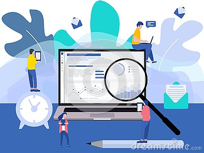 Modern flat design with a group of miniature business people analyse data together. Tiny people characters Cartoon Illustration