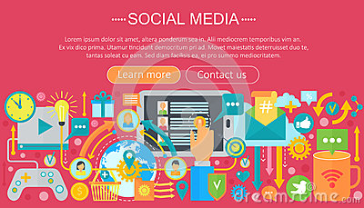 Modern Flat Design Social Media Concept Social Media Icons Website Header App Design Poster Digital Marketing Cartoon Vector Cartoondealer Com 89529591
