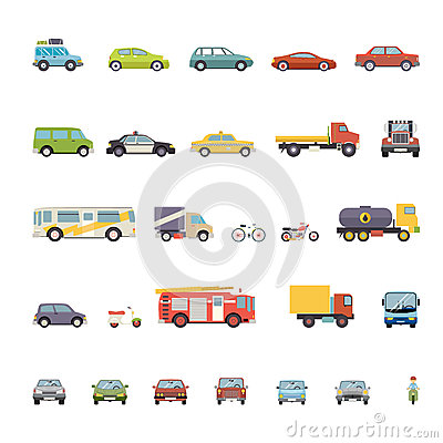 Free Modern Flat Design Transport Symbols Stylish Retro Royalty Free Stock Photo - 45008245