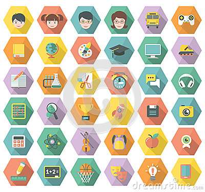 Free Modern Flat Education And Leisure Icons In Hexagon Royalty Free Stock Image - 34766366