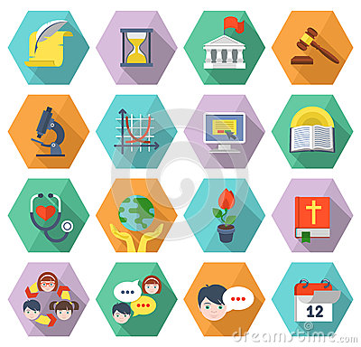 Free Modern Flat Education Icons In Hexagons Royalty Free Stock Photo - 36766385