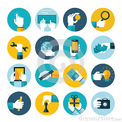 Free Modern Flat Icons  Collection Of Hand Using Variou Stock Photos - 37974333