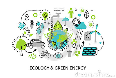 Modern flat thin line design vector illustration, infographic concept of ecology problem, generation and saving green energy Vector Illustration