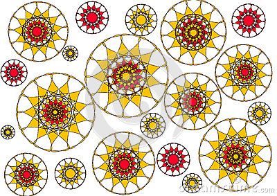 Modern floral petalled  abstract design on white background