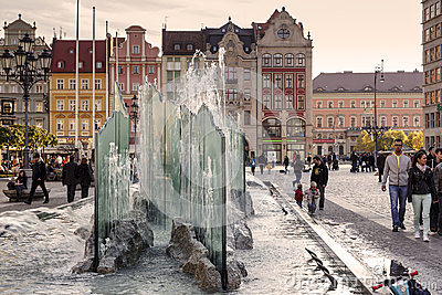 Modern fountain at the Market Square Editorial Image