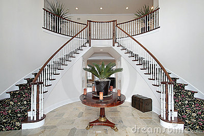 Contemporary Foyer Furniture on Modern Foyer With Double Staircase  Click Image To Zoom