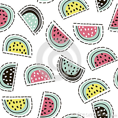 Modern fruit seamless pattern. Background with watermelon. Great for kids fabric, textile, etc. Vector Illustration.