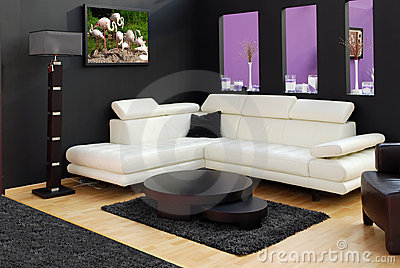 Modern furniture and lamp