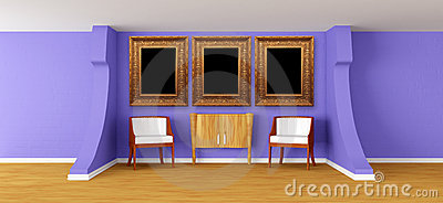 Modern gallery with luxurious armchairs and bureau