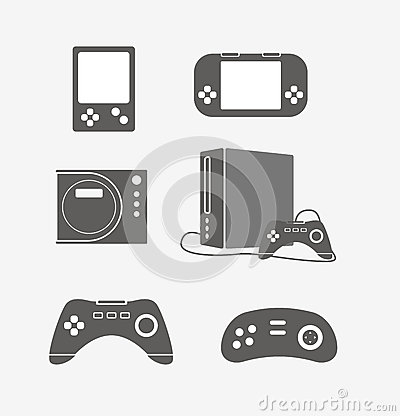 Modern game console silhouettes