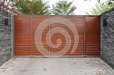 Modern Gates to a Suburban House