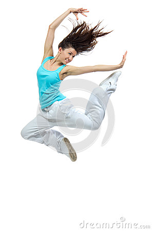 Modern girl jumping dancing