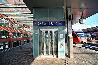 Modern glass elevator in Innsbruck train station Editorial Photography