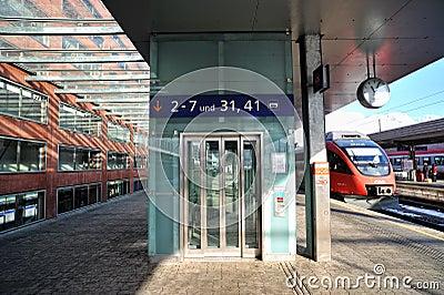 Modern glass elevator in Innsbruck train station Editorial Photography