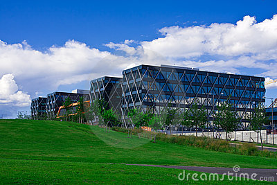 Modern glass and steel building