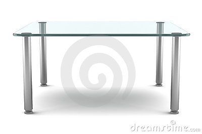 Modern glass table isolated on white