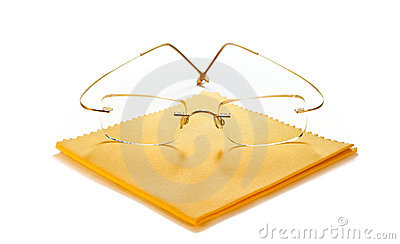 Modern glasses with cloth for cleaning