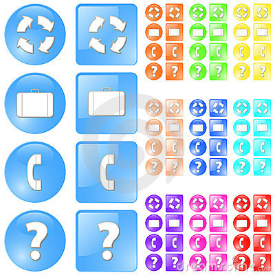 Modern glossy icon set in multiple colors