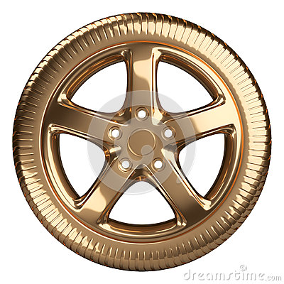 Free Modern Golden Car Wheel Front View Isolated On A White Backgroun Royalty Free Stock Image - 59680456
