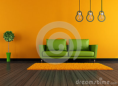 Modern green and orange livingroom