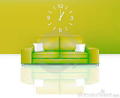 Modern Green Sofa with Time