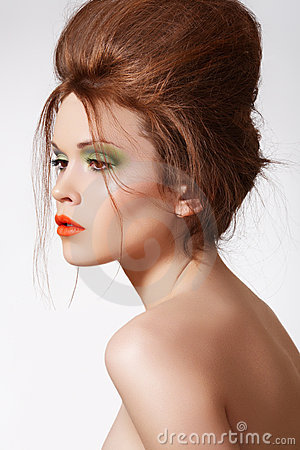 Modern hairstyle on luxury model, fashion make-up