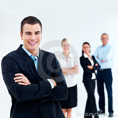 Modern Happy  young business team - copyspace
