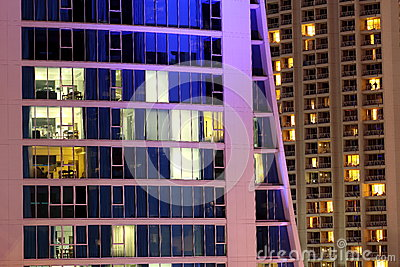Apartment tower modern living night scene Editorial Photography