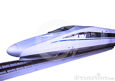 Modern high speed bullet train on track