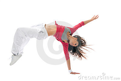 Modern  hip-hop style woman dancer break dancing