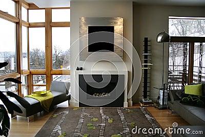 Modern home fireplace