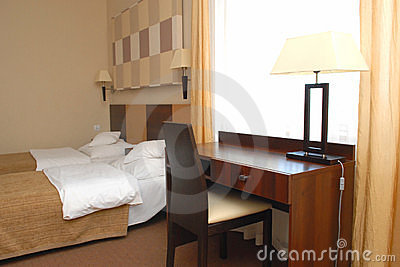 Modern hotel bedroom
