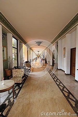Modern hotel/resort/restaurant corridor with stylish decor