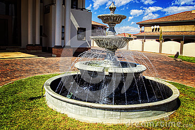 Modern House With Blue Sky And Green Grass With A Water Fountain Stock Photo Image 57138716