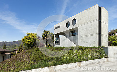 Modern house in cement, outdoor