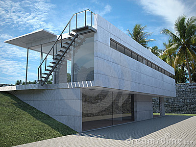 Modern house - exterior with palms