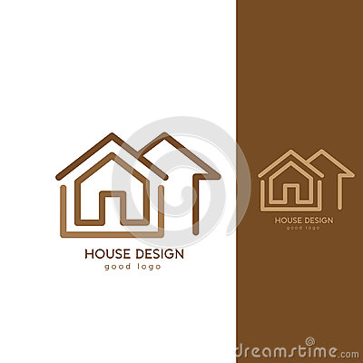 Modern house logo design template flat simple cartoon for Modern house logo