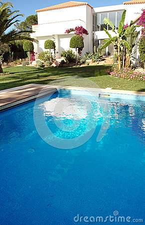 Pool on the Backyard of a Modern Luxurious House