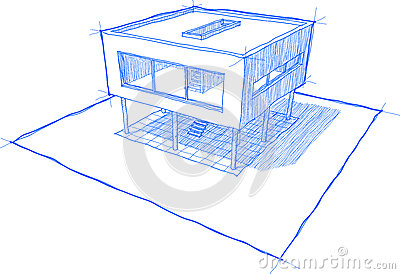 Sketch Of Modern House With Shadows No Backgroundanother