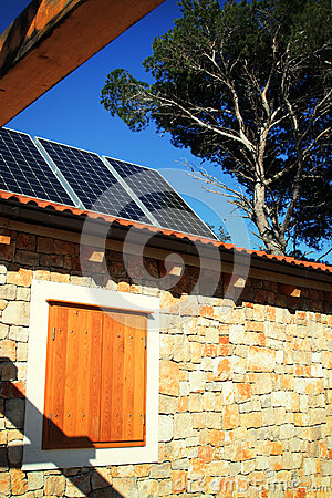 Modern house with solar panels stock images image 30770534 - Houses made from natural materials ...